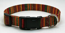 Autumn Fall Glittered Stripe Dog Collar Adjustable Handmade Custom Designer