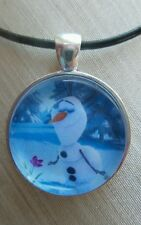 """ OLAF LOVES FLOWERS "" Disney's Frozen. Glass Pendant with Leather Necklace"