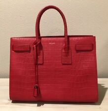 4c41550827b4 Saint Laurent Large Sac De Jour Satchel Tote Red Croc Embossed Leather YSL
