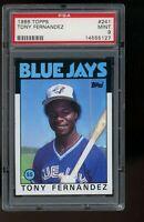 1986 Topps #241 Tony Fernandez Toronto Blue Jays PSA 9 MINT SET BREAK!