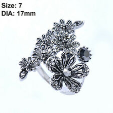 Women Jewelry Vintage Mosaic Crystal Zircon Antique Silver Plated Flower Rings 7