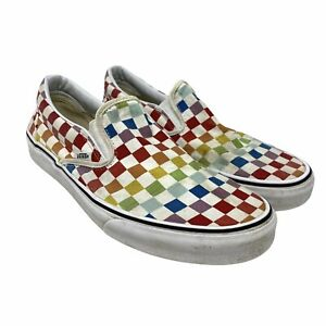Vans Classic Slip-On Size Men's 10 Rainbow Pride Checkerboard Skate Shoes