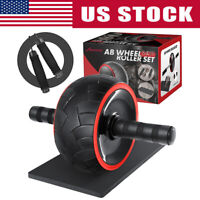 Fitness 3-in-1 Ab Wheel Roller Kit with Knee Mat and Jump Rope Home Gym Workout