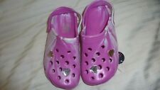 YOUNG DIMENSION PINK GLITTER JEWEL HEART CLOGS BEACH SUMMER SANDALS SHOES SIZE 1