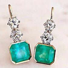 6.60 Carat Colombian Emerald & Old European Diamond Dangle Earrings