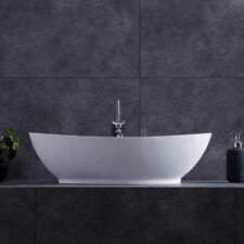 Modern Oval Stone Resin Deep Vessel Bathroom Vanity Sink & Pop Up Drain White