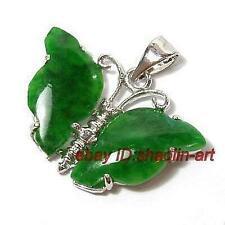 beau, pendentif , jade vert, forme de papillon ,+ chaîne
