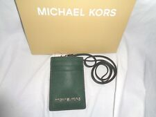 MICHAEL KORS JET SET TRAVEL LANYARD ID CARD CASE BADGE HOLDER MOSS LEATHER