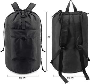 Laundry Bag Backpack Adjustable Shoulder Straps Drawstring Closure Washable New