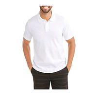 George Stretch Pique Men's White Polo Shirt with No Roll Collar XXL 50-52 NWT