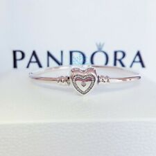 New Genuine Pandora Silver Wishful Family Forever Heart Bangle 590729CZ RRP£55