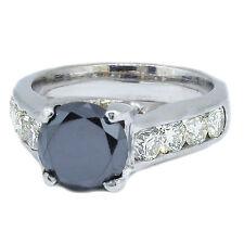 3.00 Carat 14k White Gold Round Cut Black Diamond Engagement Ring size 4-11