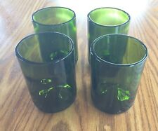 Set of 4 10 oz Drinking Glasses Made from Wine Bottles Green Glass