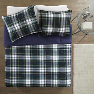 NEW!!  CLASSIC COZY BLUE NAVY GREEN GREY BROWN CABIN PLAID  SOFT COMFORTER SET