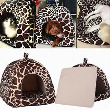 Leopard Kennel Pet Bed Cushion Dog Cat Warm Mat Soft Pad Sleeping Nest New House