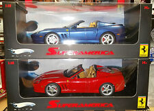 LOT OF 2 FERRARI 575 SUPERAMERICA 1 RED & 1 BLUE HOT WHEELS ELITE 1:18 ON SALE