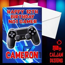 Playstation tarjeta de cumpleaños personalizada y nombre o texto hijo nieto hermano 01