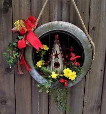 Tire Swing Wreath Galvanized Metal Wheel Birdhouse Flowers Birds Ribbons New
