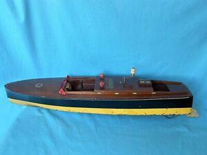 "Vintage SEAWORTHY BOATS Wooden Toy Model Wind Up JACRIM Flying Yankee Large 26"""