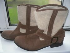 brown faux suede fur topped boots by marks and spencers size 41 or a 7