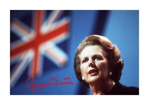 Margaret Thatcher A4 reproduction signed photograph poster choice of frame