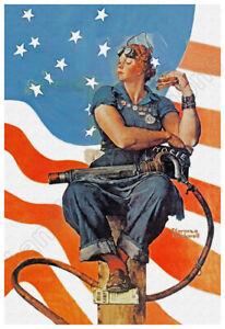Rosie The Riveter 1943 Patriotic Poster - Beautiful Vintage Art!