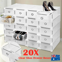 20Pcs Clear Drawer Shoe Storage Boxes Stackable Container Organizer Cabinet Rack