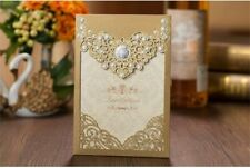 Gold Laser Cut  Wedding Party Invitation Card with Envelope 10PCS Seals Custom