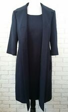 Kasper 2PC Sheath Dress Suit Duster Jacket 14 Navy Blue Textured NWT
