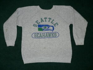 Vtg 80s CHAMPION BRAND SEATTLE SEAHAWKS SWEAT SHIRT CREW NECK SzL USA MADE RAYON