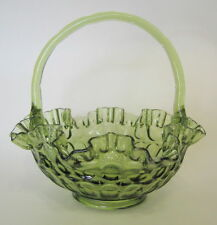 Fenton Thumb Print Glass Basket Colonial Green Ruffled Rim Crimped Handle 9 Inch