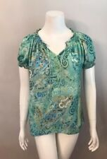 Philosophy Republic Clothing Green Blue Paisley Tie Neck Satin Tunic Top Size S