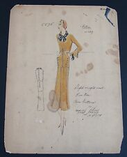 1920's Ethel Rabin Vintage Fashion Design Original Print. Jean Patou Design