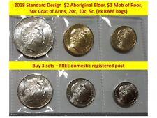 2018 Unc or better 6 coin set 5 cent 10c 20c 50 c $1 roo $2 Ab elder ex RAM bags