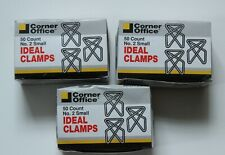 Vintage Lot Of 3 Boxes X 50 Ideal Butterfly Style Paper Clips Clamps Size 2