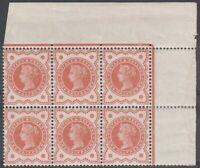 1887 JUBILEE SG197 1/2d VERMILION BLOCK OF 6 RARE PERF EXTENSION & SIDE MARGIN