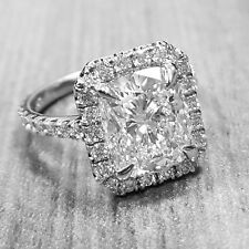 Authentic 1.75 Ct. Cushion Cut Halo Pave Diamond Engagement Ring H, VS2 GIA