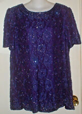 Vintage 80S Candlelight Champagne Purple Cocktail Club Party Top Blouse Size 14