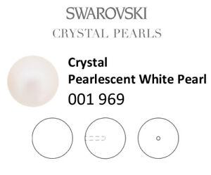 Genuine SWAROVSKI 5818 Crystal Round Pearls Half Drilled * Many Colors & Sizes