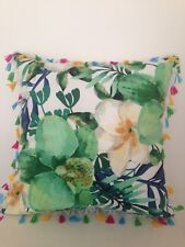 Watercolour Green Floral Tassel Fringe Boho Velvet Look Soft Cushion Cover18""