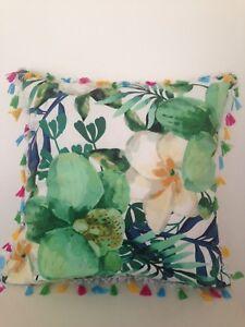 """Watercolour Green Floral Tassel Fringe Boho Velvet Look Soft Cushion Cover 18"""""""