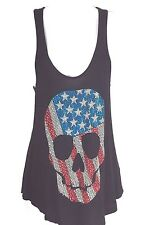 Red White Blue Skull Black Tank Top The Clas-sic Size M Made in USA