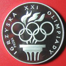 """1976 POLAND 200 ZLOTYCH """"PROBA"""" SILVER PROOF OLYMPIC RINGS TORCH M=6,048 COINS!"""