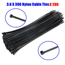 200PCS Black Electrical Nylon Cable Ties 3.6 x 300 mm UV Stabilised 50010