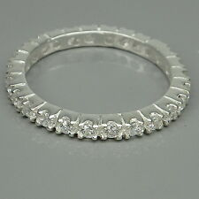 BEAUTIFUL! WHITE SAPPHIRE 1.75MM. STERLING 925 SILVER ETERNITY RING SIZE 6.75