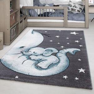 Kinderteppich Kinderzimmer Babyzimmer Kurzflor Elefanten Mama Grau Blau Meliert