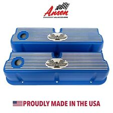 Ford 289 Tall Valve Covers - American Eagle Finned Style Blue - Ansen USA
