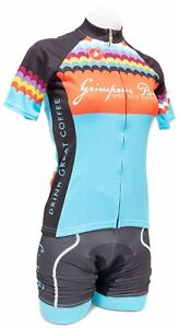 Castelli Grimpeur Bros Coffee Short Sleeve Cycling Kit Women XS Blue Road Bike