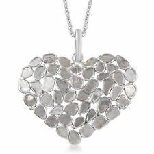 """Plata esterlina 925 Diamante Corazón Colgante tamaño 20"""" CT 2.3 Color I3 Clarity"""