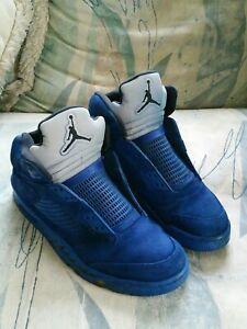 Nike Air Jordan 5 V Retro Blue Suede 136027-401 Men's Sz 10.5 Read Description